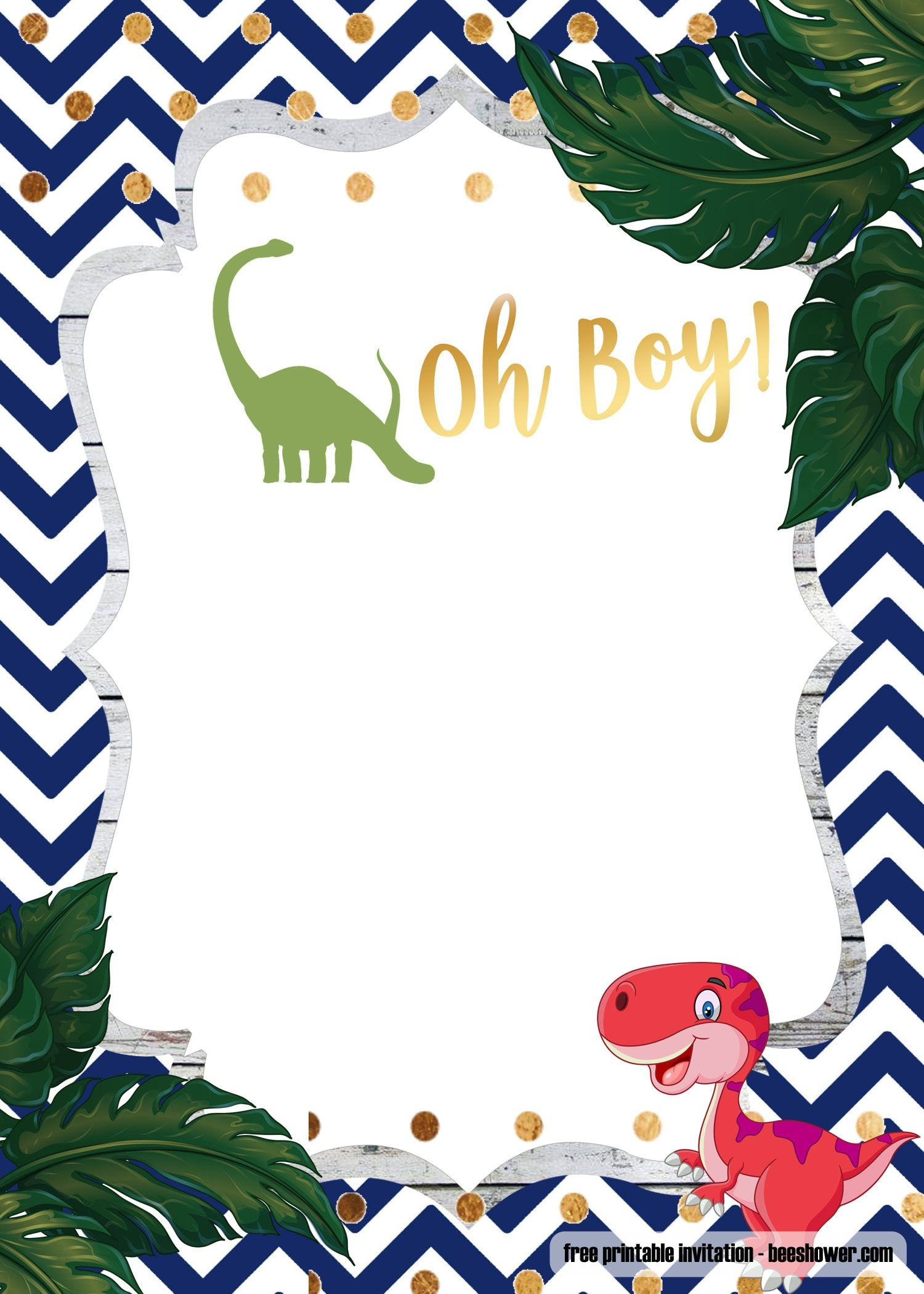 A Dinosaur Template For Your Baby Shower | Baby Shower | Baby - Free Printable Dinosaur Baby Shower Invitations