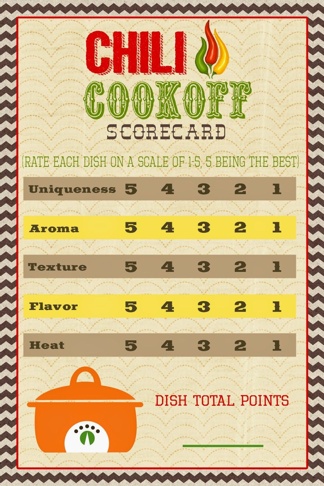 A Pocket Full Of Lds Prints: Chili Cook-Off Scorecard … | Chili - Chili Cook Off Printables Free