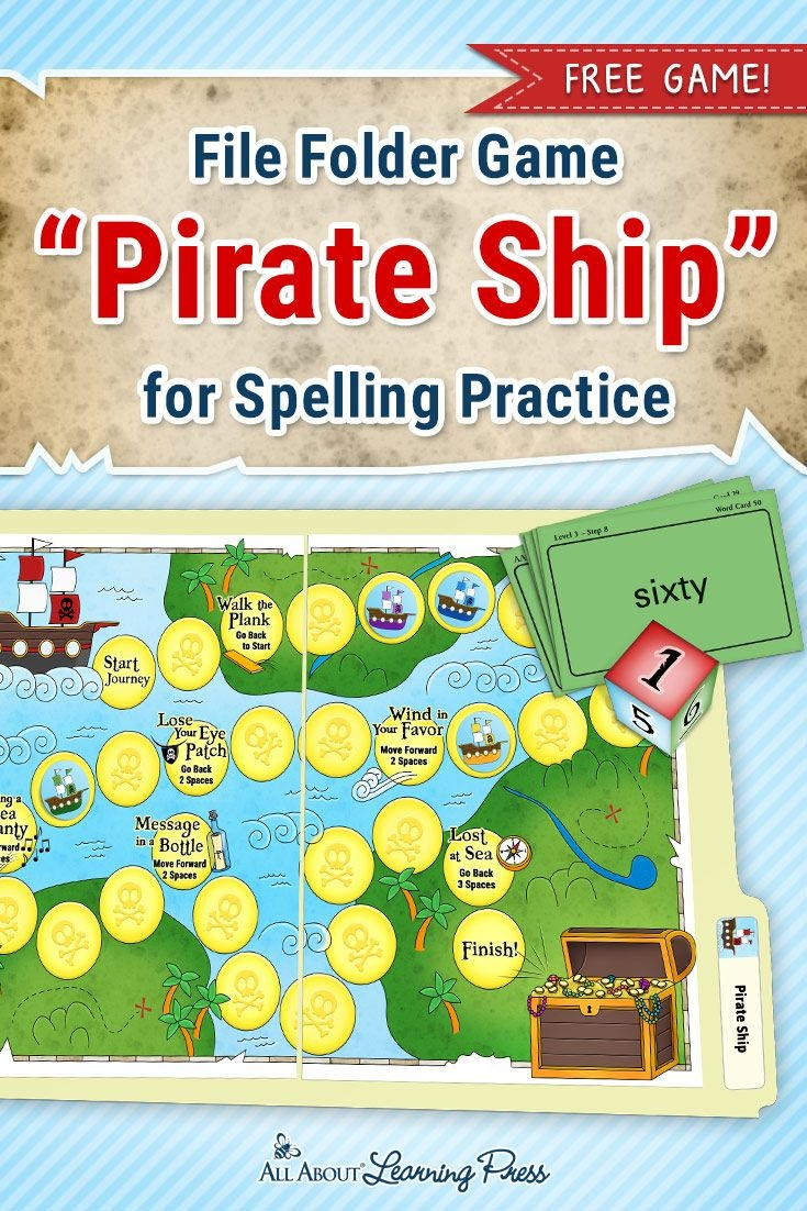 A Treasure Trove Of Pirate Activities For Reading And Spelling - Free Printable File Folder Games