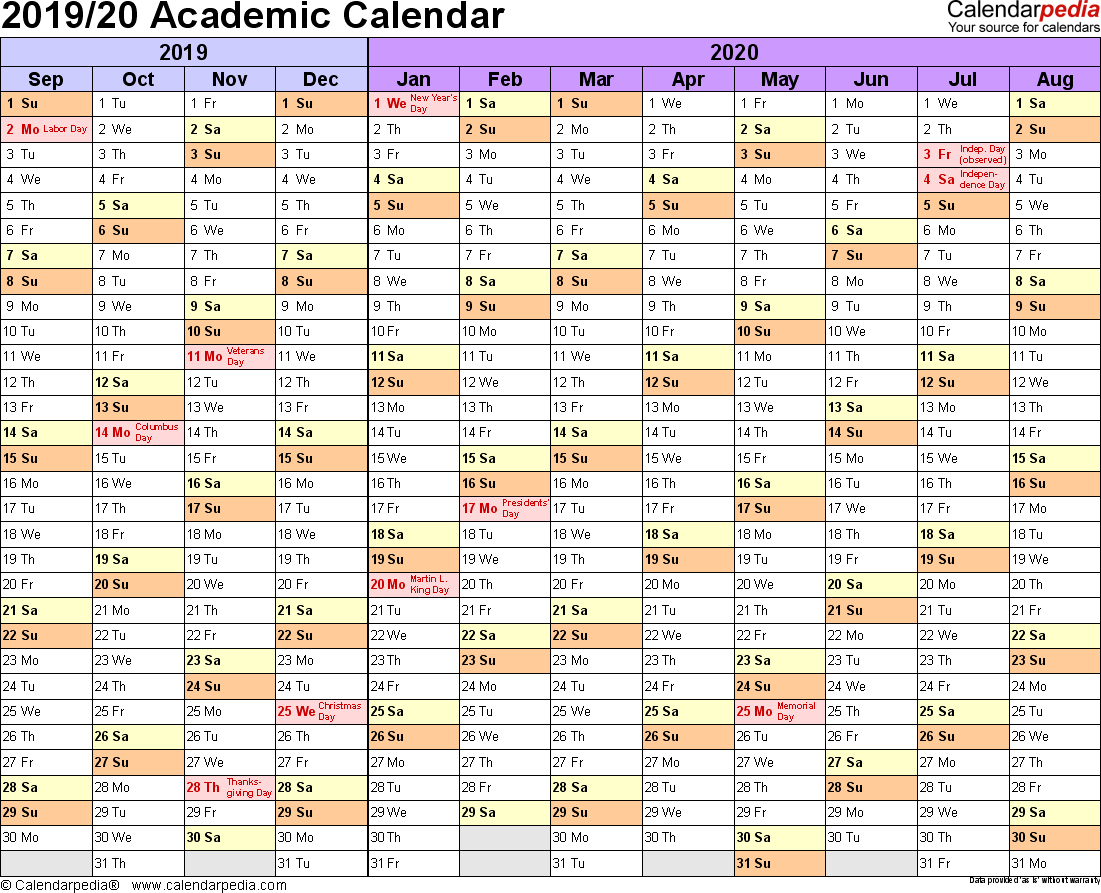 Academic Calendars 2019/2020 - Free Printable Word Templates - Free Printable College Degrees