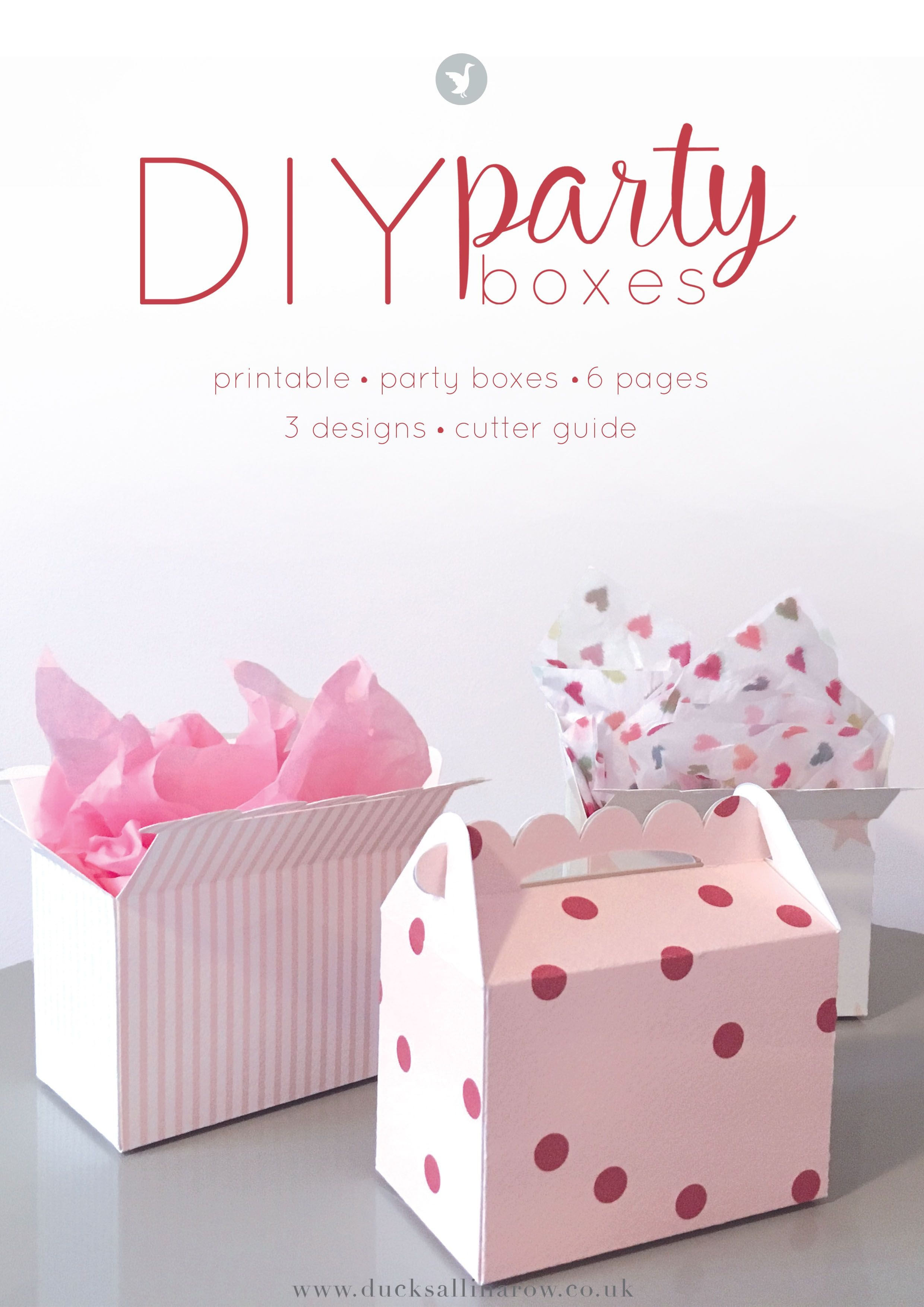 Adorable Diy Party Boxes - Free Printables | Gift Wrapping Ideas - Printable Box Templates Free Download