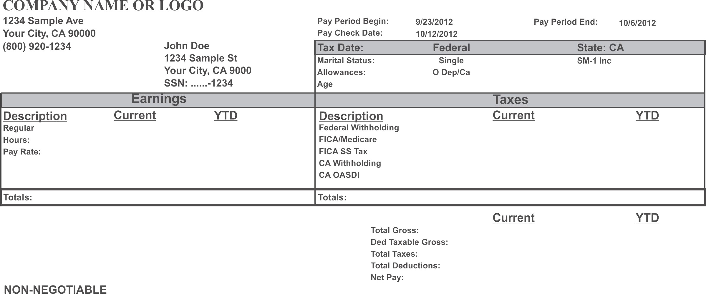 Adp Pay Stub Template Free - Printable Pay Stub Template Free