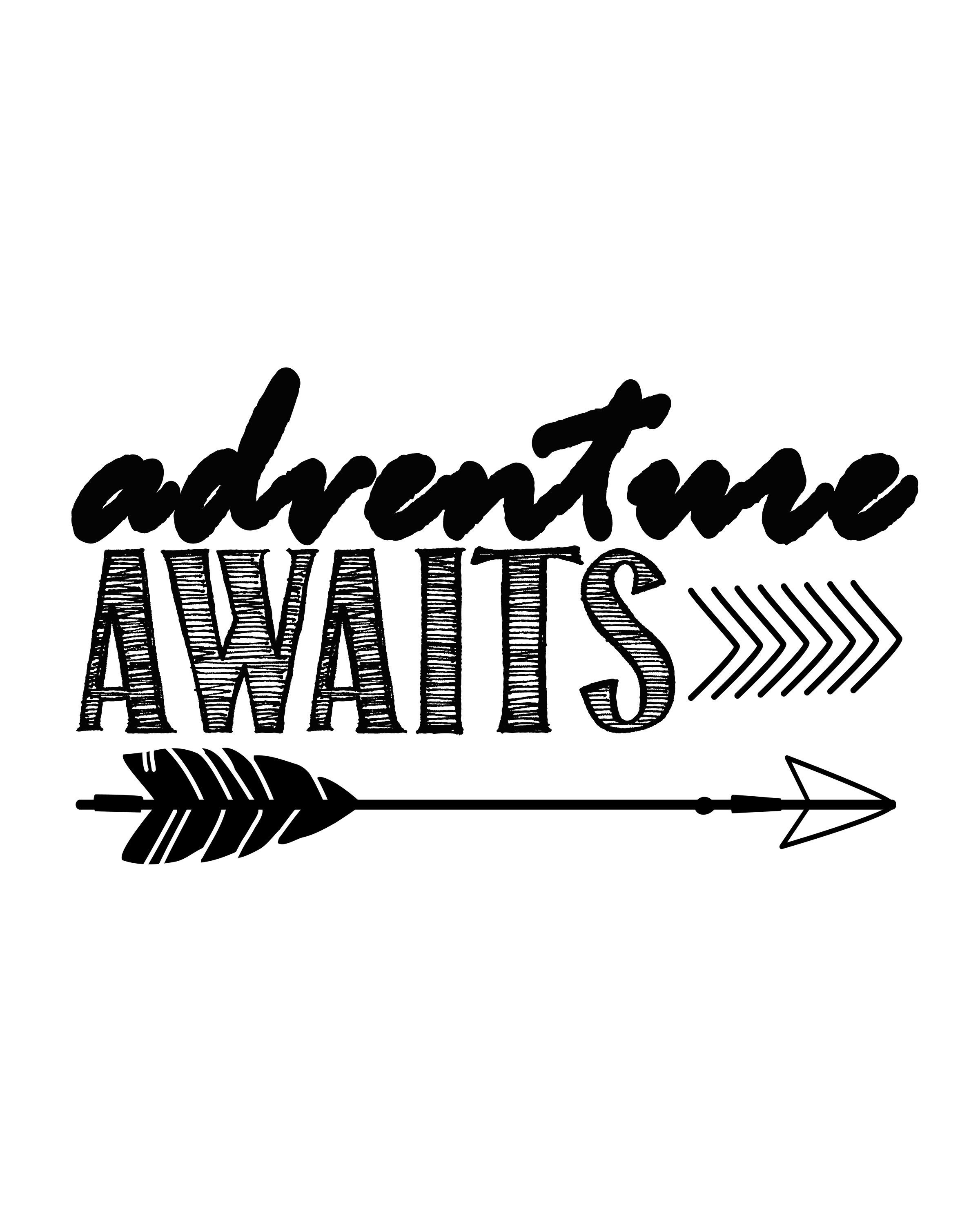 Adventure Awaits…free Printable Art Print | Silouehette Stuff | Free - Free Printable Arrow Stencils