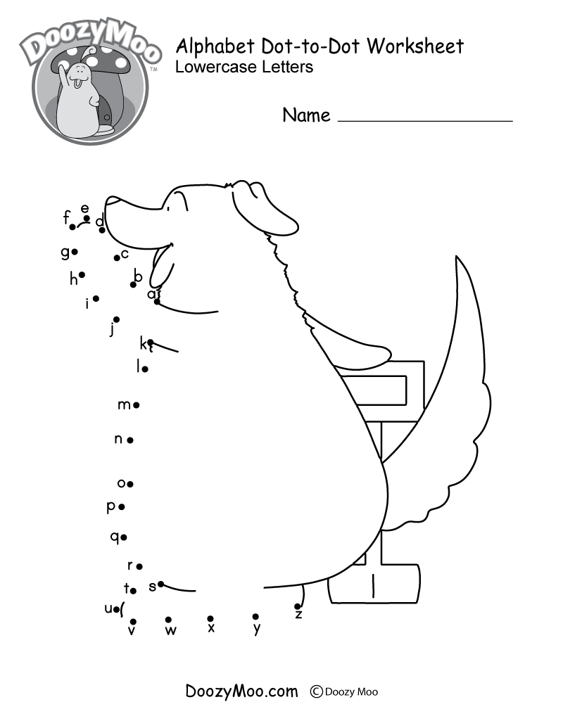 Alphabet Dot-To-Dot Worksheet (Free Printable) - Doozy Moo - Free Printable Alphabet Dot To Dot Worksheets