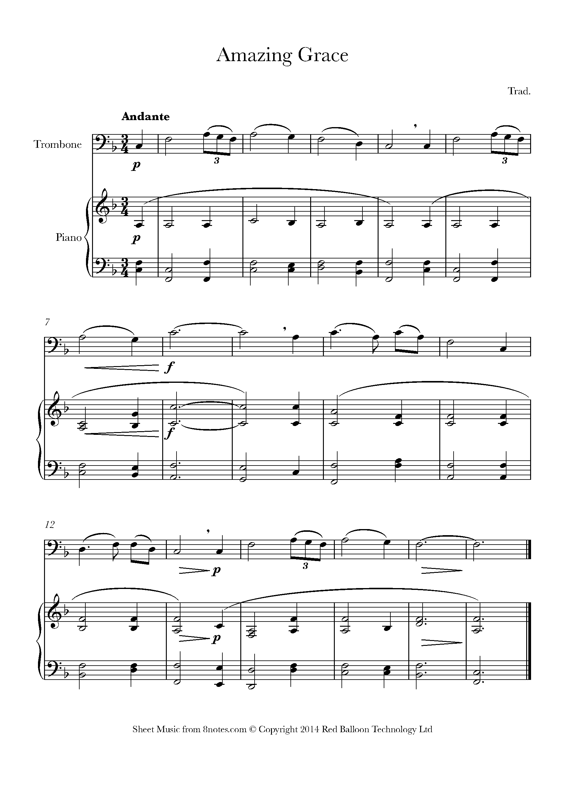Amazing Grace Sheet Music For Trombone - 8Notes - Sheet Music For Trombone Free Printable