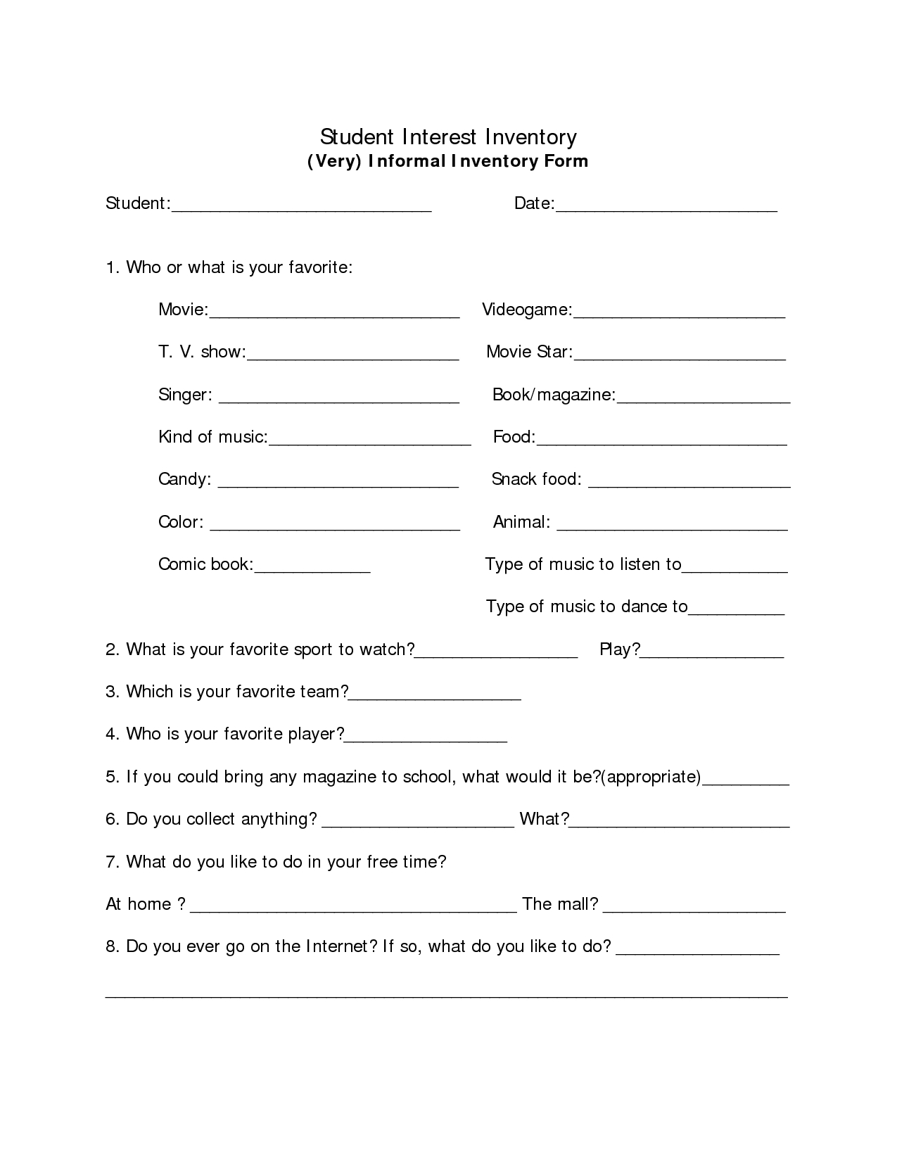 An Informal Student Interest Survey | Assessing Student Interest - Printable Career Interest Survey For High School Students Free