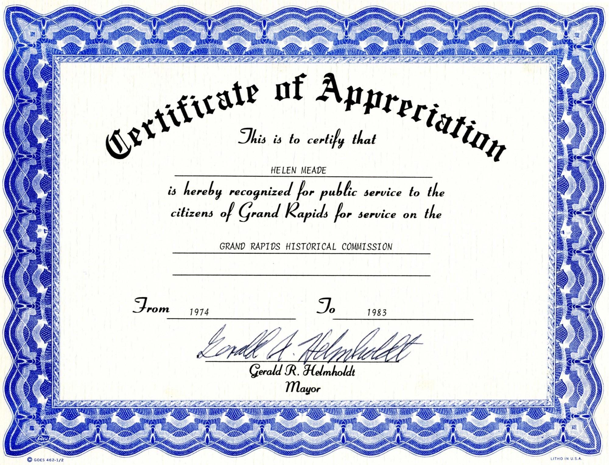 Appreciation Certificate Templates Free Download - Free Printable Templates For Certificates Of Recognition