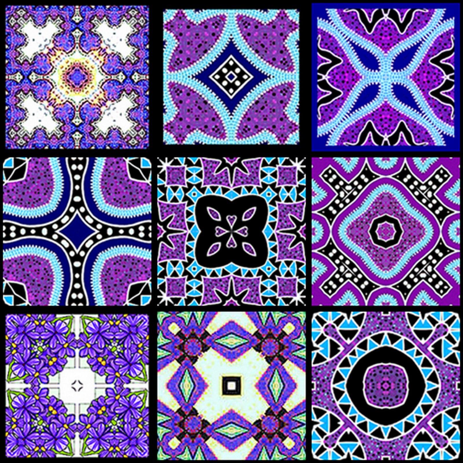 Artbyjean - Tea Bag Tiles: Block Of Nine Tea Bag Tiles - Purple - Free Printable Tea Bag Folding Patterns