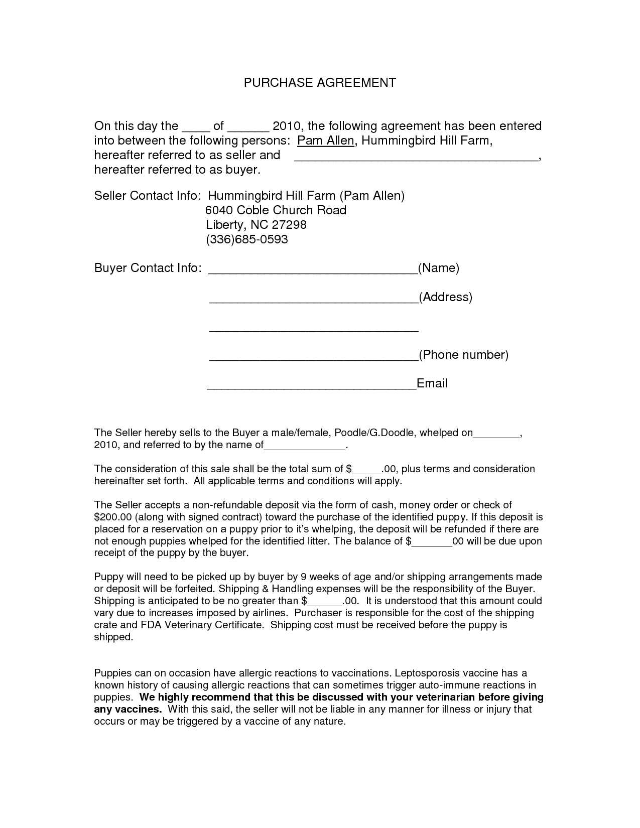 Auto Purchase Agreement Form - Docnyy13910 - Purchase Contract - Free Printable Purchase Agreement Forms
