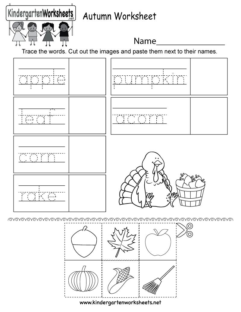 Autumn Worksheet - Free Kindergarten Seasonal Worksheet For Kids - Free Printable Autumn Worksheets