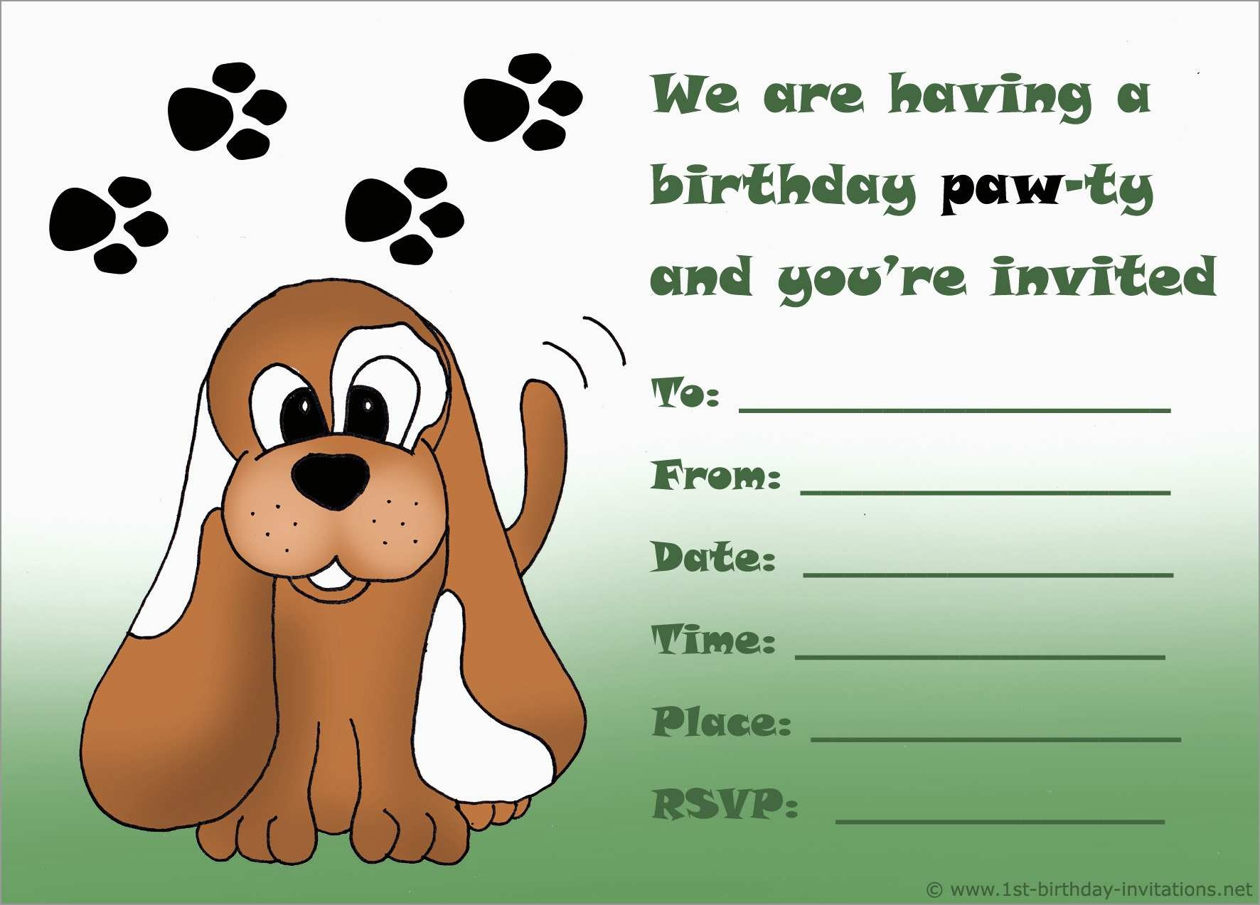Awesome Dog Birthday Party Invitations Templates Free | Best Of Template - Free Printable Puppy Dog Birthday Invitations