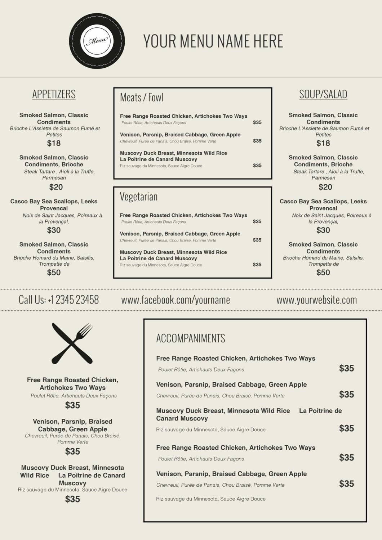Awesome Free Printable Restaurant Menu Templates - Kathycanfor - Free Printable Restaurant Menu Templates
