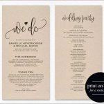 Awesome Free Printable Wedding Program Templates For Word | Best Of   Free Printable Wedding Program Templates
