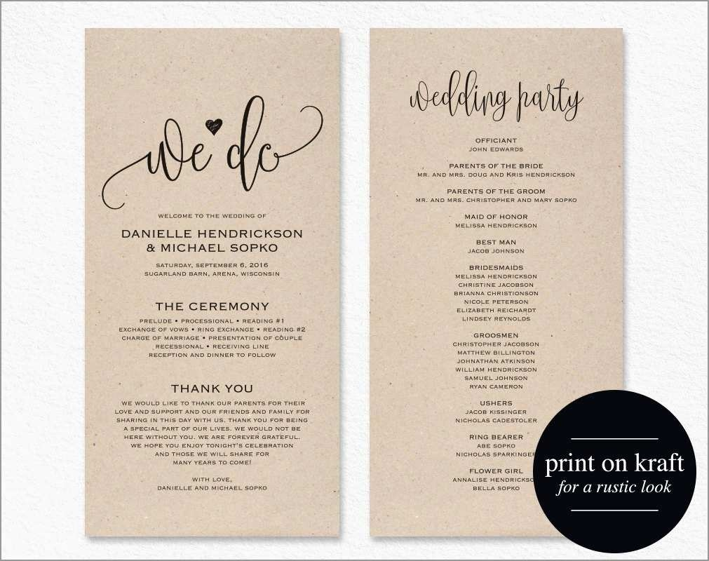 Awesome Free Printable Wedding Program Templates For Word | Best Of - Free Printable Wedding Program Templates