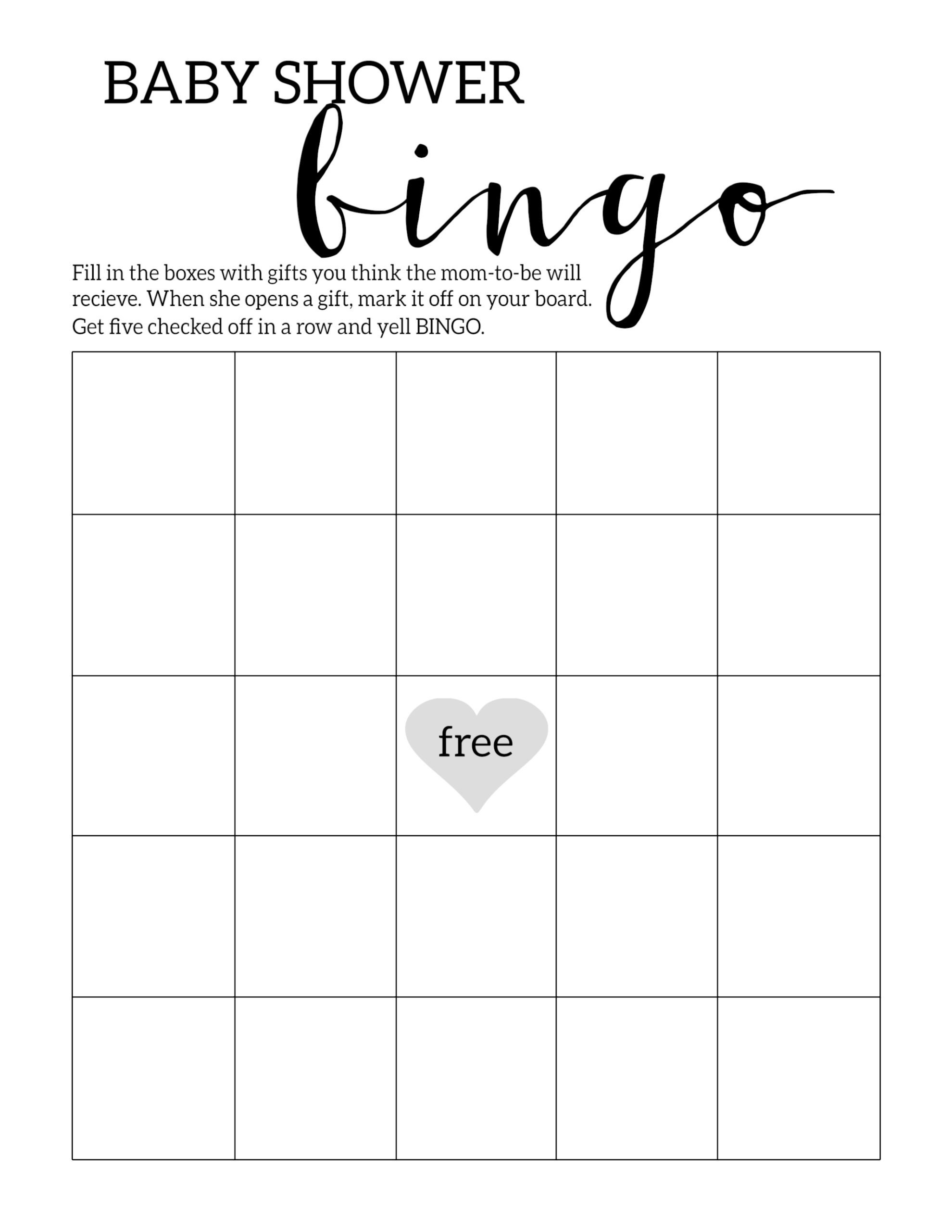 Baby Shower Bingo Printable Cards Template - Paper Trail Design - Baby Shower Bingo Template Free Printable