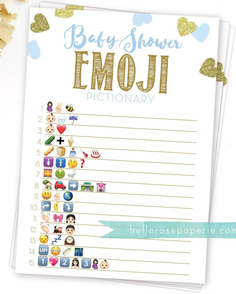 Baby Shower Emoji Pictionary Game With Answers . Blue And Gold Boy - Emoji Baby Shower Game Free Printable
