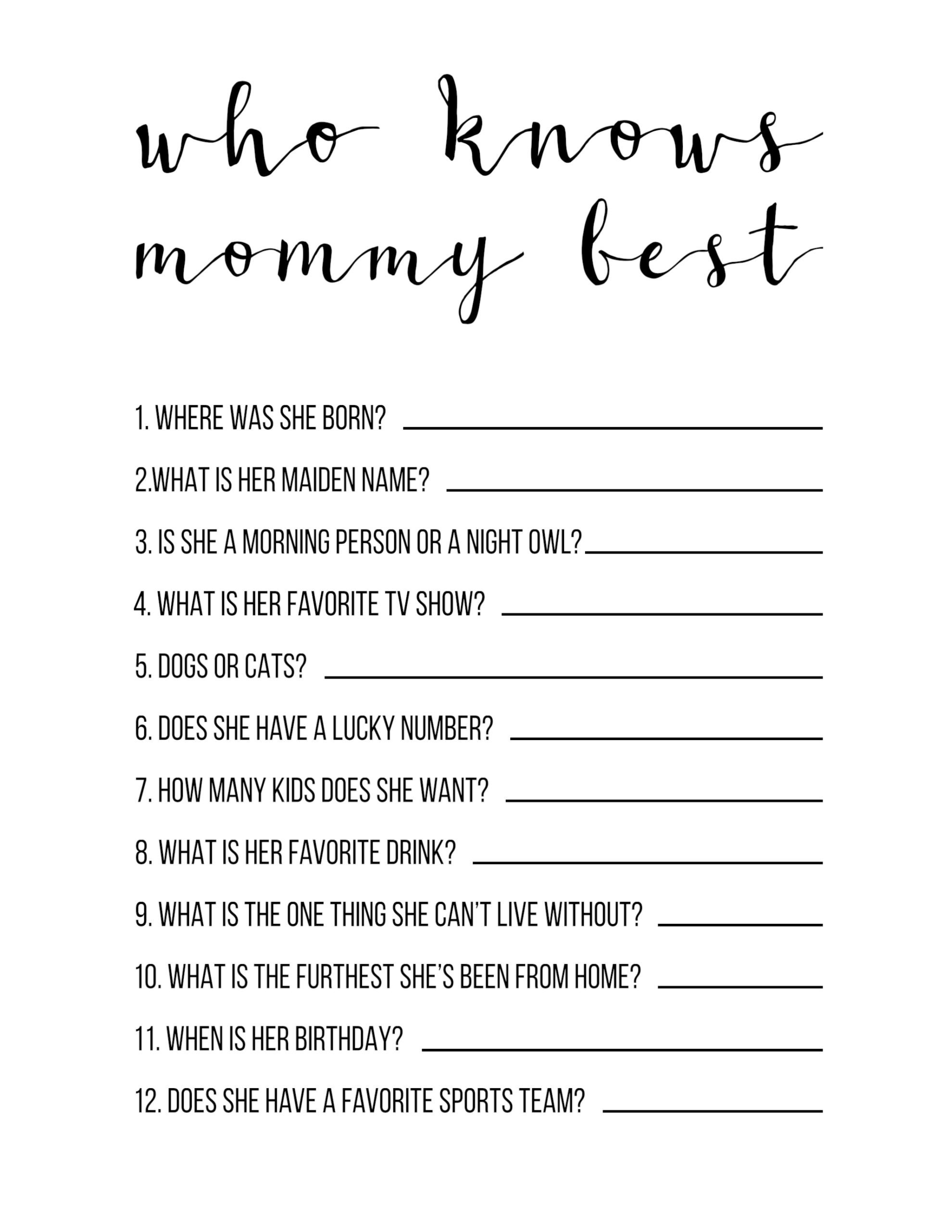 Baby Shower Games Free Printable {Who Knows Mommy Best} - Paper - Who Knows Mommy Best Free Printable