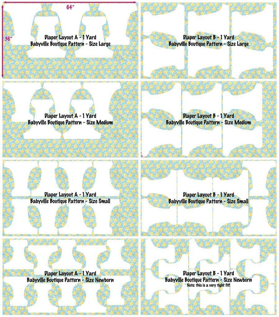 Babyville Boutique™ Diaper Pattern Layouts | Babyville Boutique - Cloth Diaper Pattern Free Printable