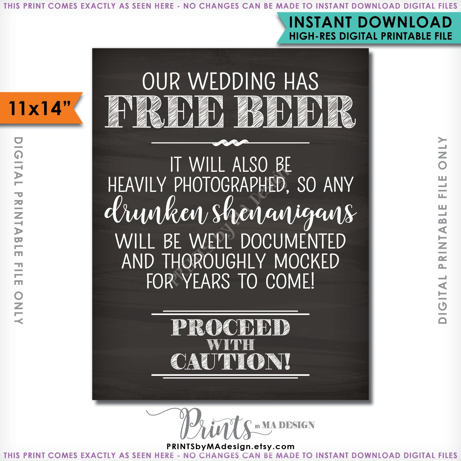 Bar Sign, Free Beer Wedding Bar Caution Sign, Drunken - Free Beer Printables