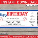 Baseball Game Birthday Gift Ticket | Printable Ticket To The Baseball   Free Printable Baseball Ticket Birthday Invitations