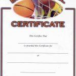 Basketball Award Certificate Templates. Blank Certificate Templates   Basketball Participation Certificate Free Printable