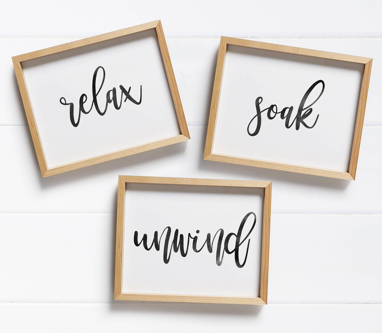 Bathroom Printable/ Bathroom Signs/ Relax Soak Unwind/ | Etsy - Relax Soak Unwind Free Printable