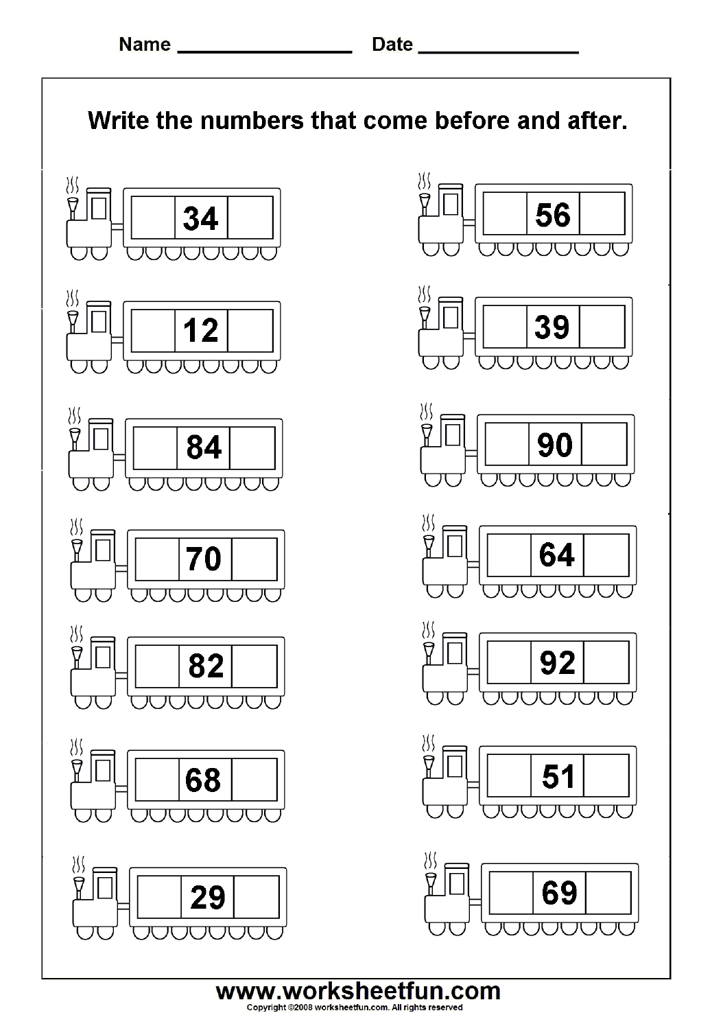 Before & After Numbers - 2 Worksheets | Printable Worksheets | Math - Free Printable Hoy Sheets