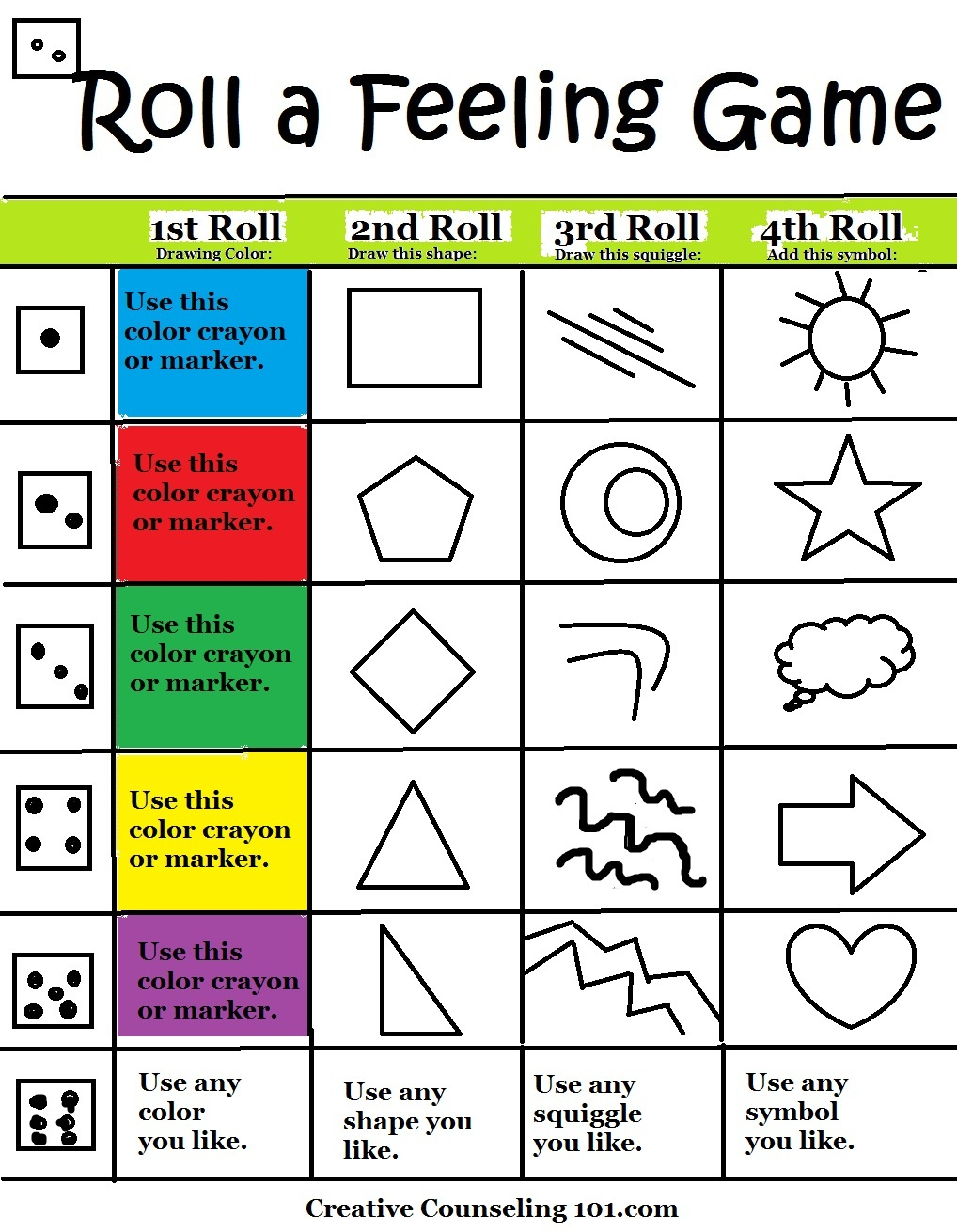 Beyond Art Therapy Roll-A-Feelings Game - Free Printable Counseling Worksheets