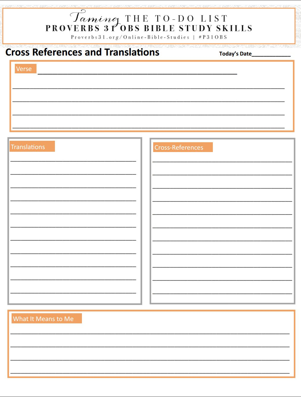 Bible Study Skills: Translations And Cross-References | P31 | Online - Free Online Printable Bible Studies