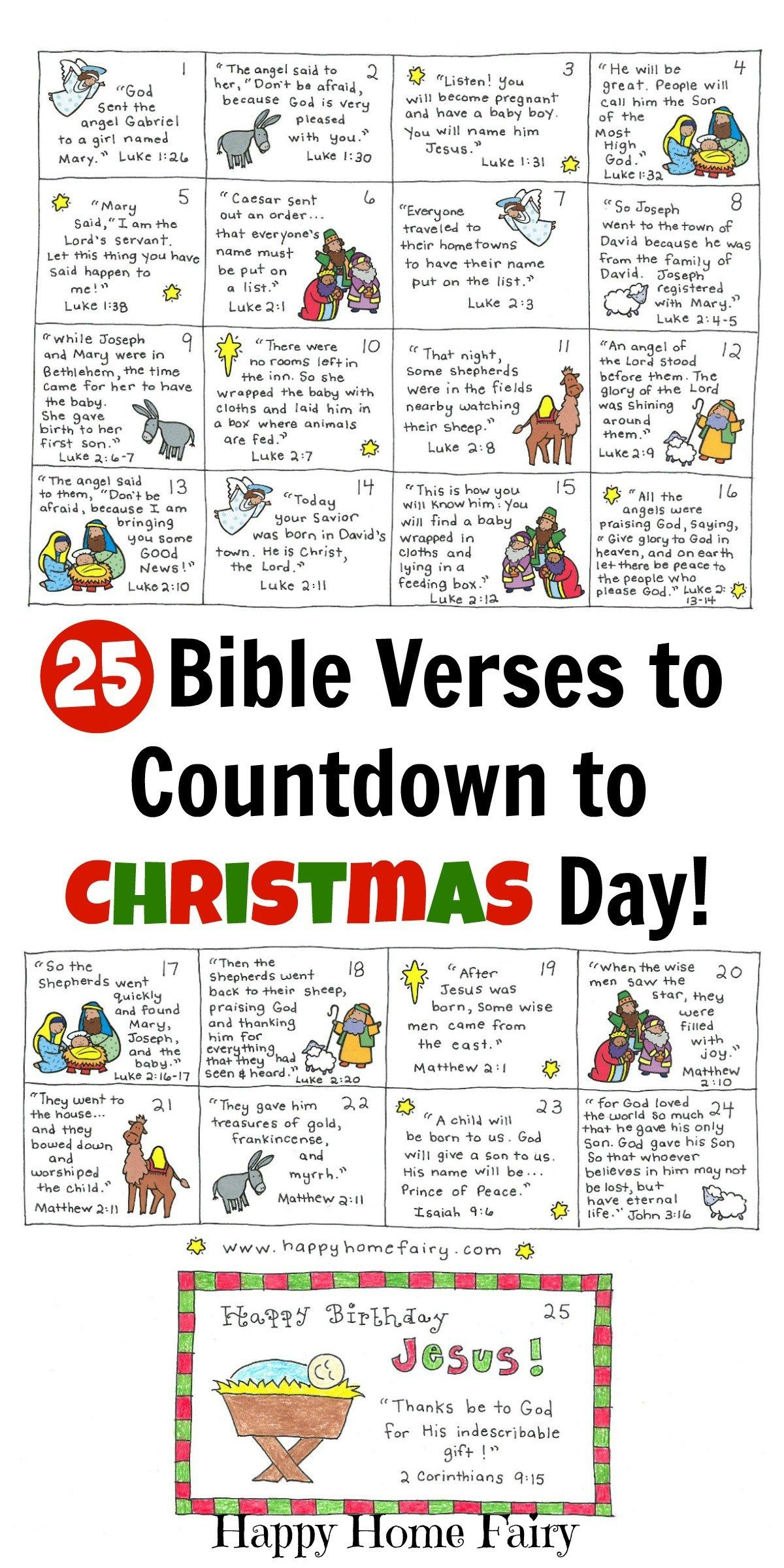 Bible Verse Advent Countdown For Kids - Free Printable | Christmas - Free Printable Advent Bible Study