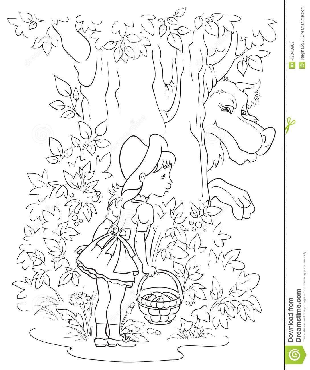 Big Bad Wolf Coloring Page. Little Red Riding Hood 18 Coloring Page - Little Red Riding Hood Masks Printable Free