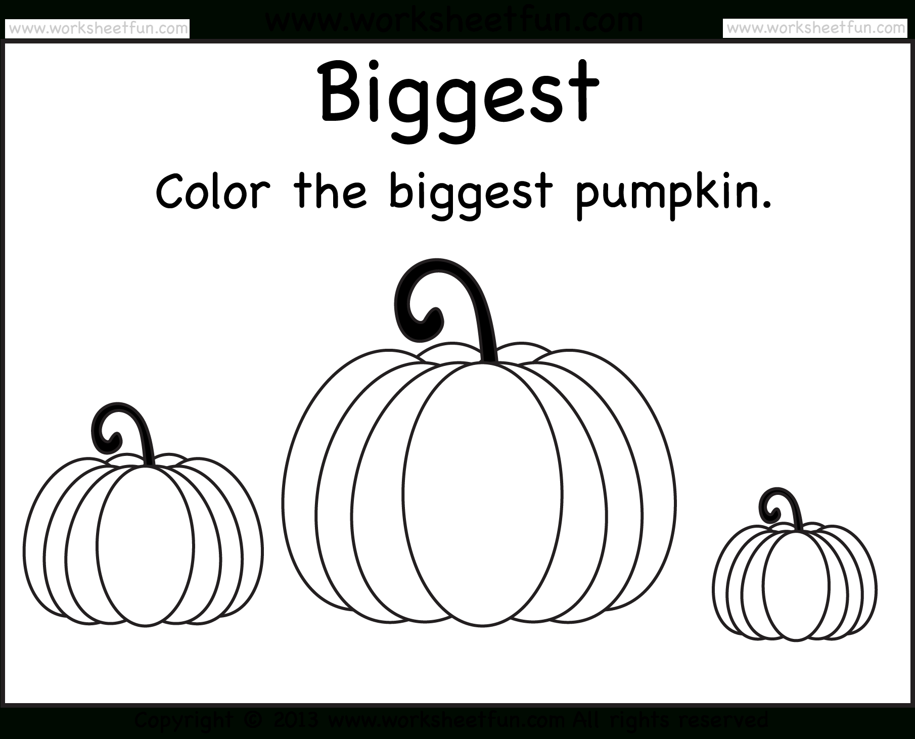 Biggest And Smallest Pumpkin – 2 Worksheets / Free Printable - Free Pumpkin Printables