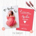 Birth Announcement Template Card. Baby Girl Birth Card. Newborn Card   Free Printable Baby Birth Announcement Cards