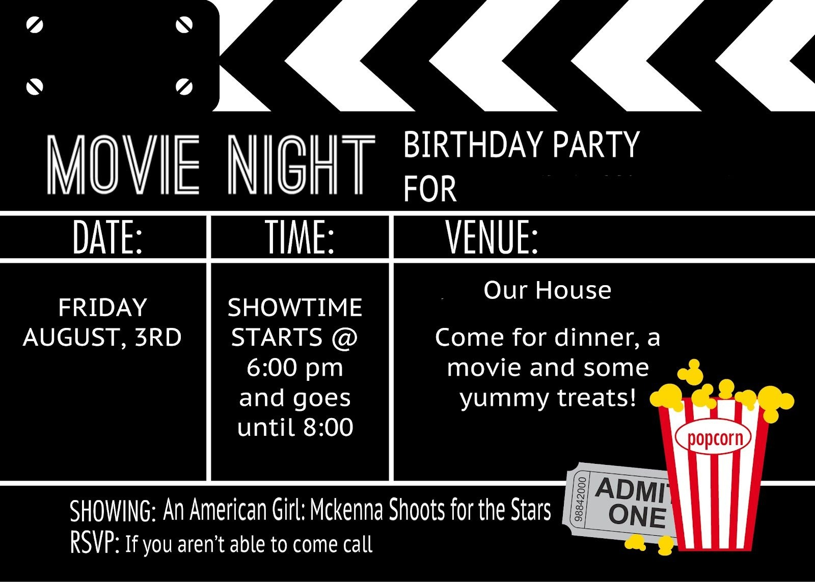 Birthday Party Invitation Templates Movie Theme | Kalli's 13Th - Movie Birthday Party Invitations Free Printable
