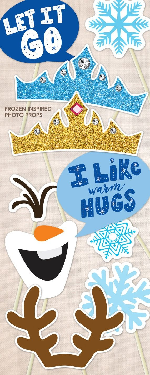 Birthday Photo Booth Props, Frozen Inspired. Print Ready Frozen - Free Printable Frozen Photo Booth Props