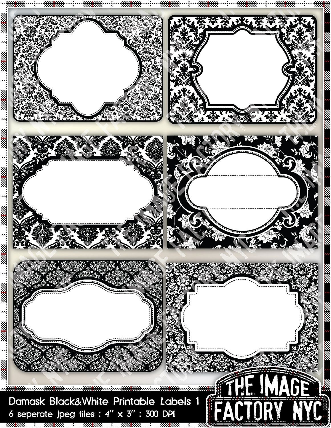 Black And White Damask Printable Labels & Tags, For Gift Tags, Place - Free Printable Damask Place Cards