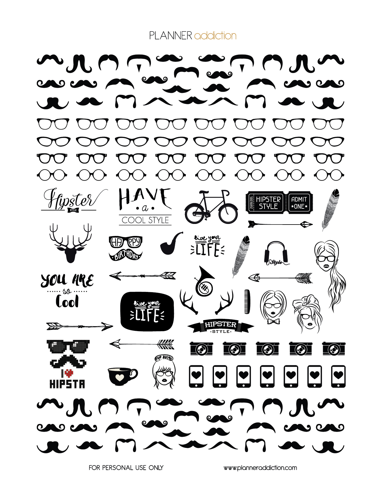 Black & White Hipster (Planner Addiction) | Stickers | Printable - Bullet Journal Stickers Free Printable Black And White