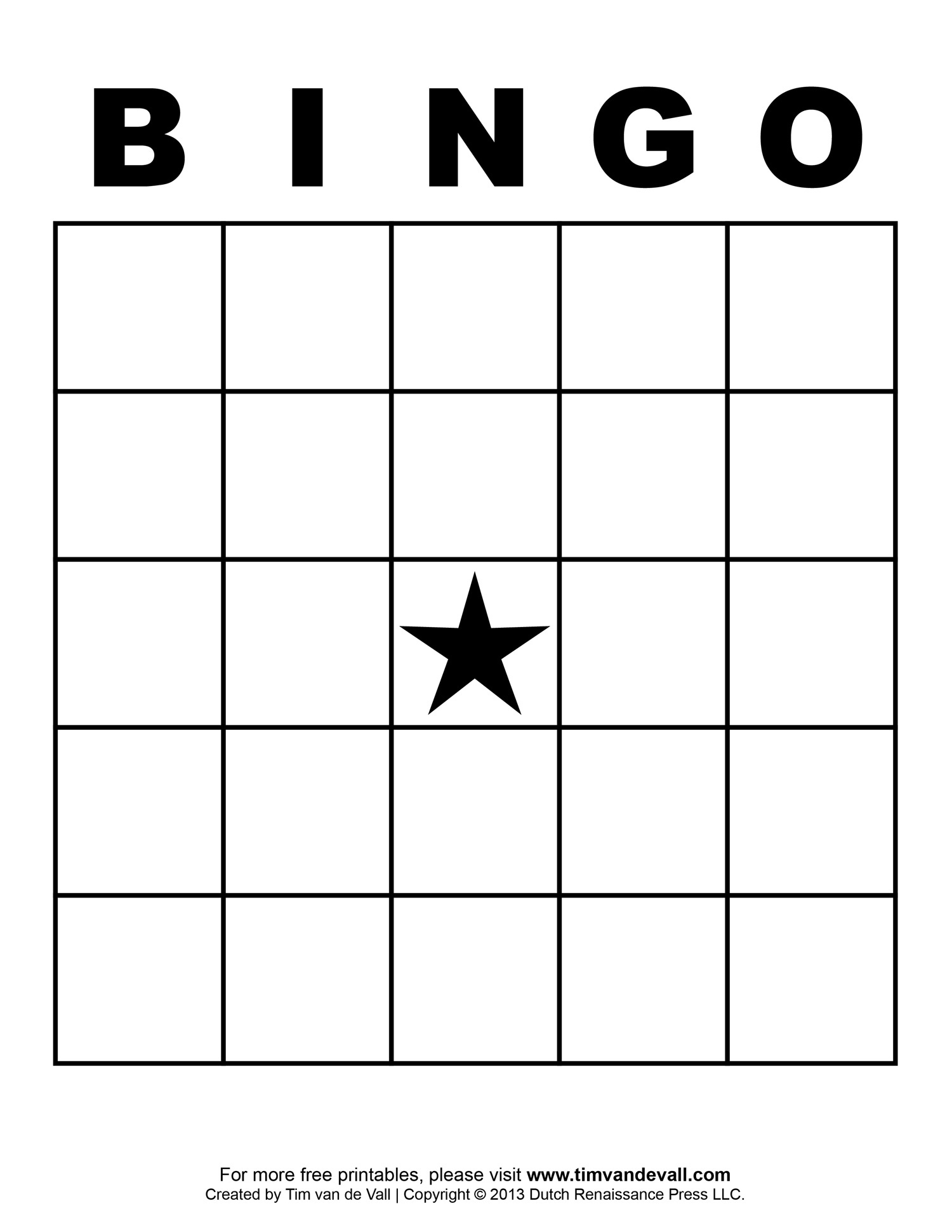 Blank Bingo Template - Tim's Printables - Free Bingo Patterns Printable