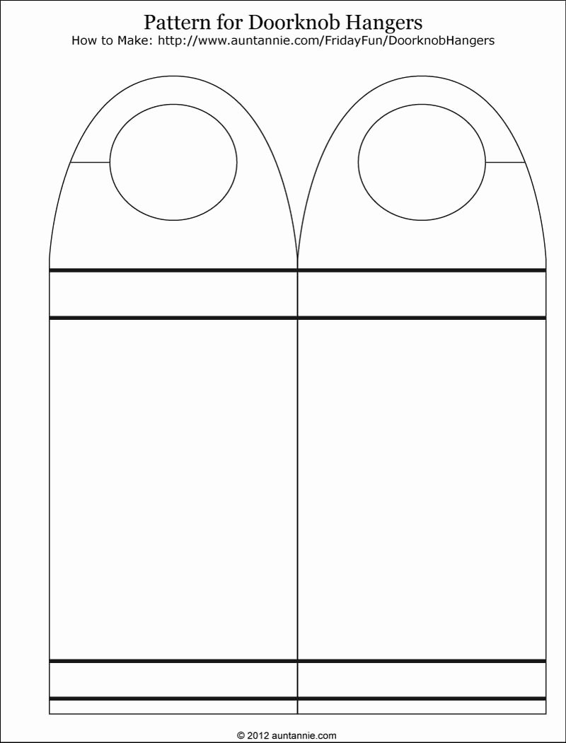 Blank Door Hanger Template | Mathosproject - Free Printable Door Knob Hanger Template