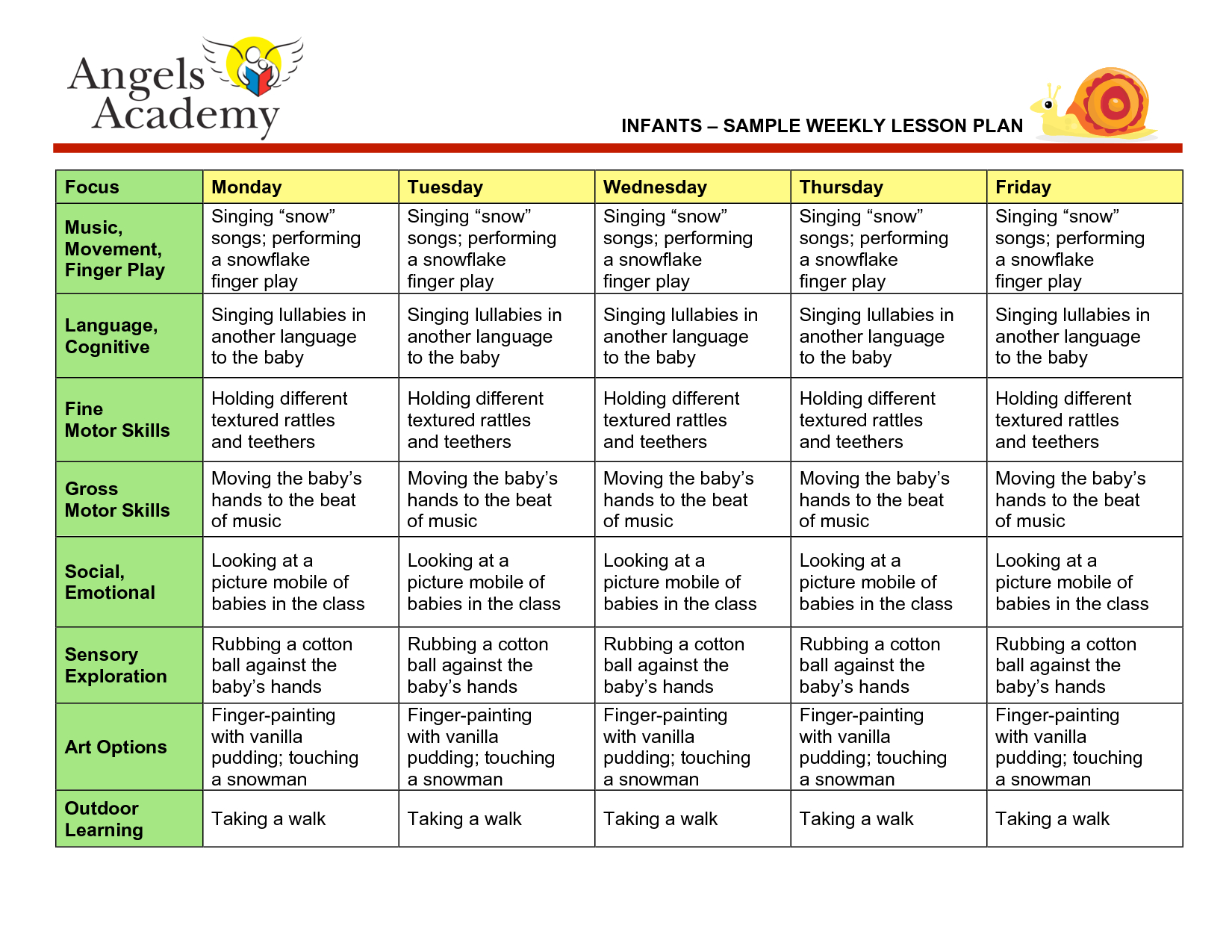 Blank Lesson Plan Template | Infants - Sample Weekly Lesson Plan - Free Printable Infant Lesson Plans