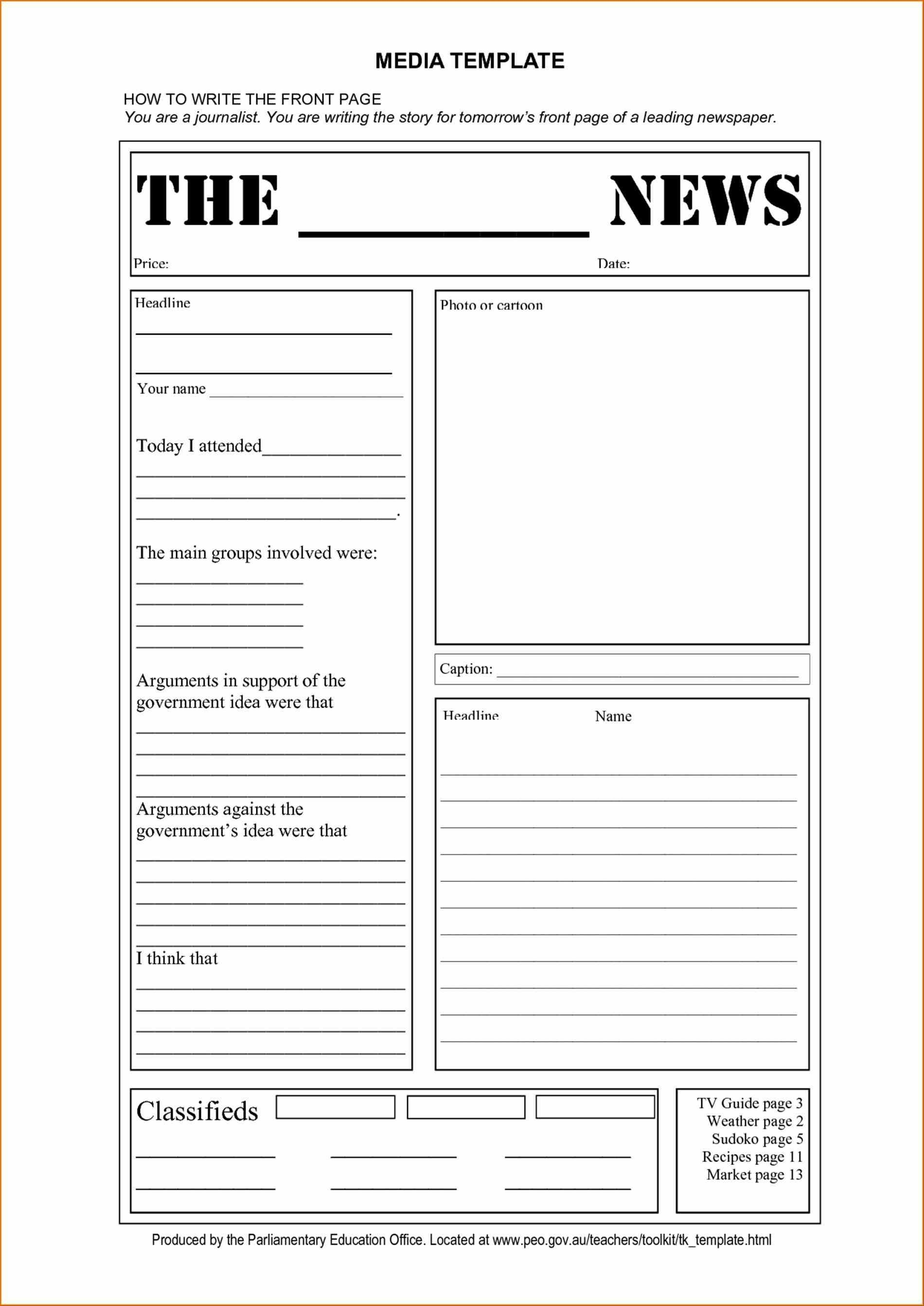 Blank Newspaper Templates Newspaper Template For Kids Printable On - Free Printable Newspaper Templates For Students