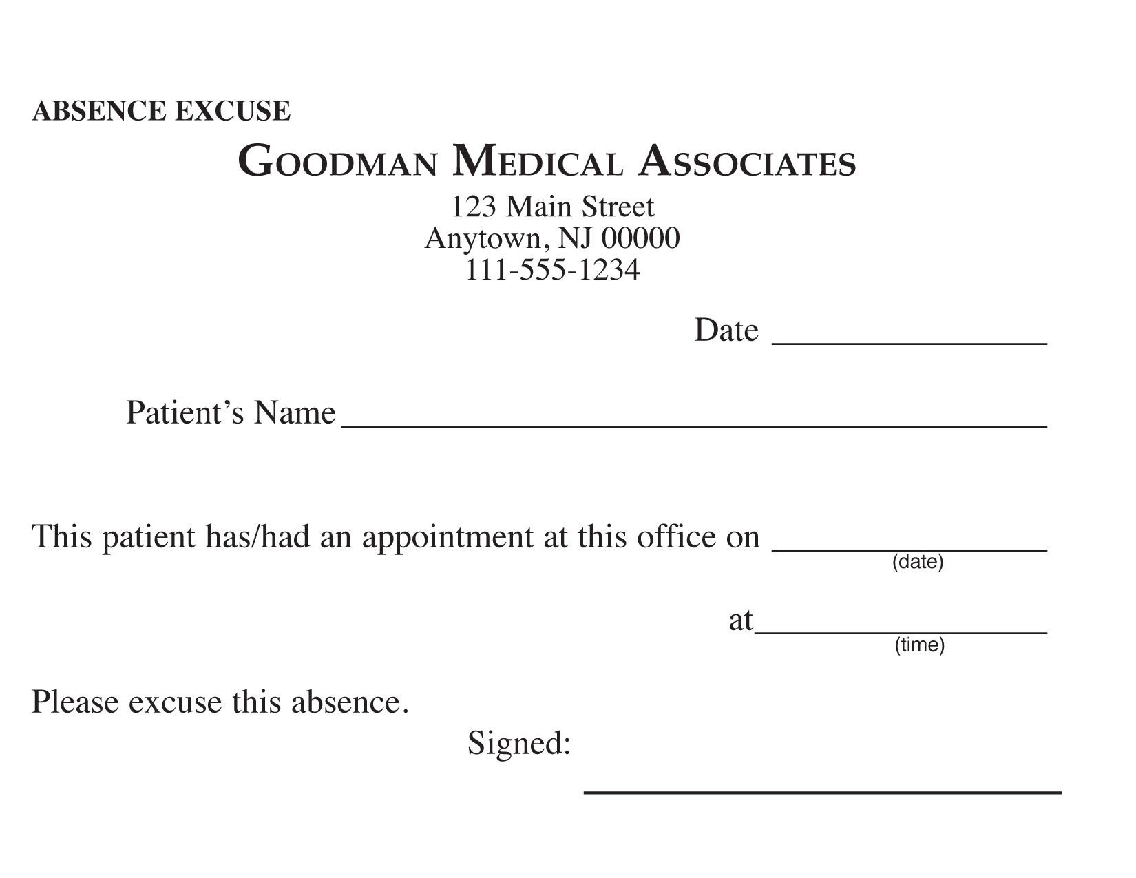 Blank Printable Doctor Excuse Form | Keskes Printing - Mds - Free Printable Doctors Note For Work