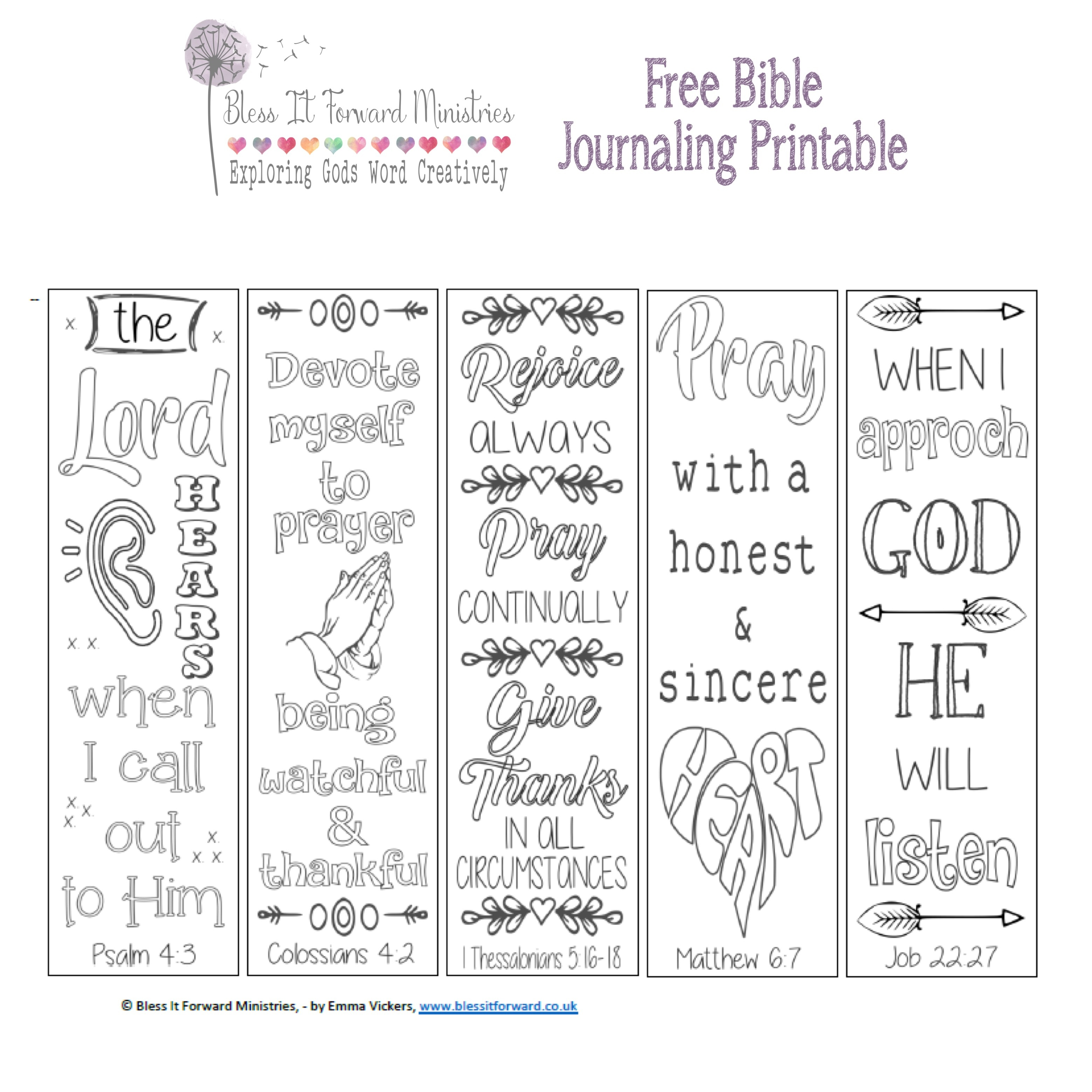 Bless It Forward Ministries - Free Printables - Free Bible Journaling Printables