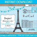 Blue Paris Birthday Party Invitations Template | Postcard   Free Printable Postcard Invitations Template