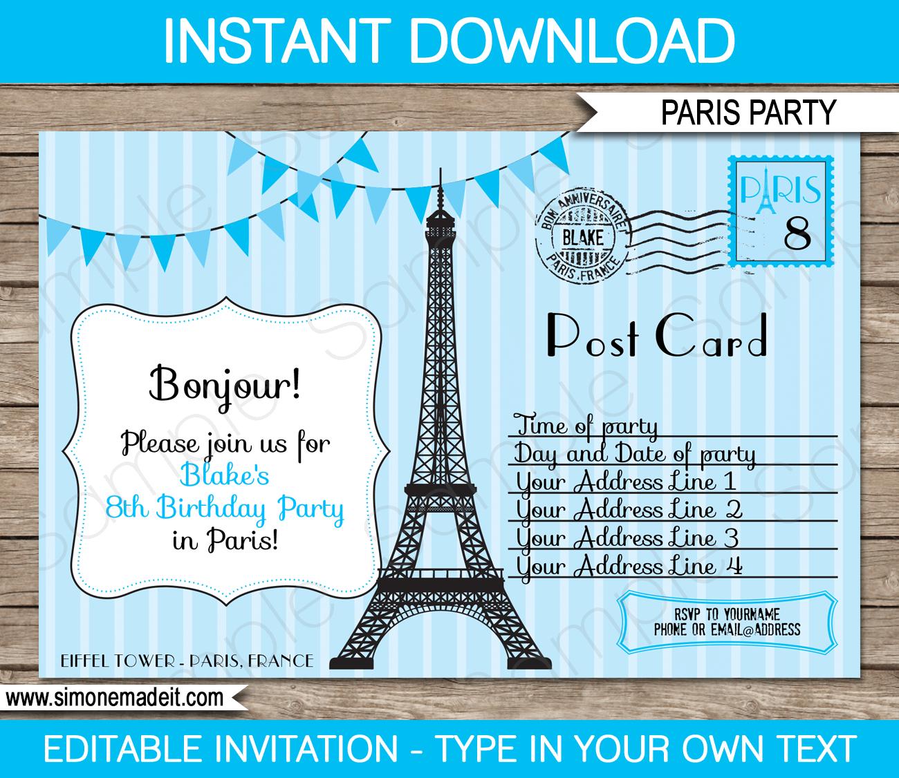 Blue Paris Birthday Party Invitations Template | Postcard - Free Printable Postcard Invitations Template