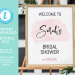 Blush Bridal Shower Sign Printable Editable Hens Party | Etsy   Free Printable Bachelorette Signs