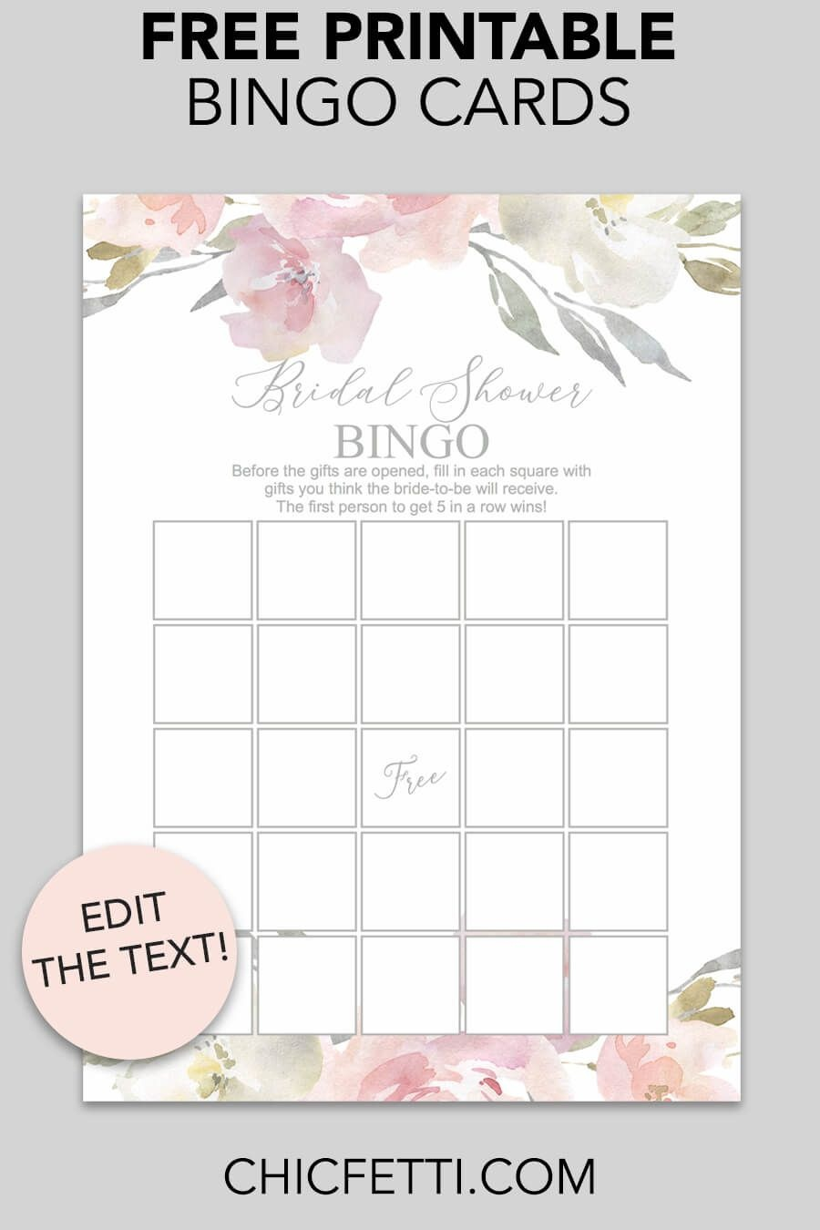 Blush Floral Printable Bridal Shower Bingo | Free Wedding Printables - Free Bridal Shower Printables