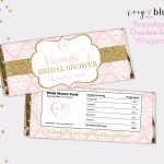 Blush Pink Gold Bridal Shower Chocolate Bar Wrapper | Etsy   Free Printable Candy Bar Wrappers For Bridal Shower