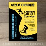Bmx Party / Skate Park Birthday Party Invitations / Skateboard | Etsy   Free Printable Skateboard Birthday Party Invitations