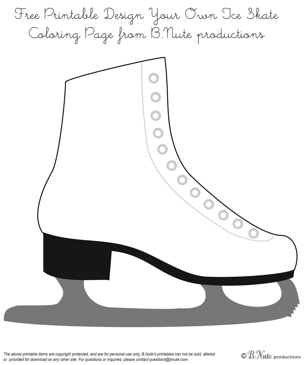 Bnute Productions: Free Printable Coloring Page: Design Your Own Ice - Free Printable Skateboard Birthday Party Invitations